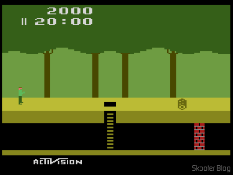 Screenshot do Pitfall no emulador Stella