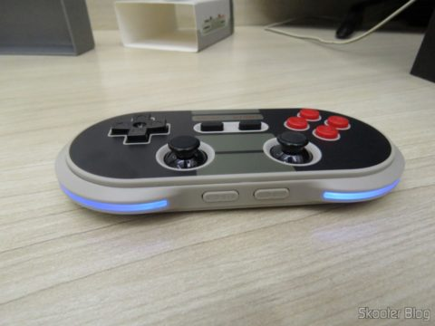 8Crissaegrim NES30 PRO Bitdo in operation, with the LEDs lit in blue