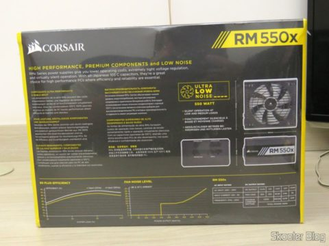 Fully Modular power supply S Series ™ RM550X — 550 Watt with certification 80 PLUS ® Gold, on its packaging