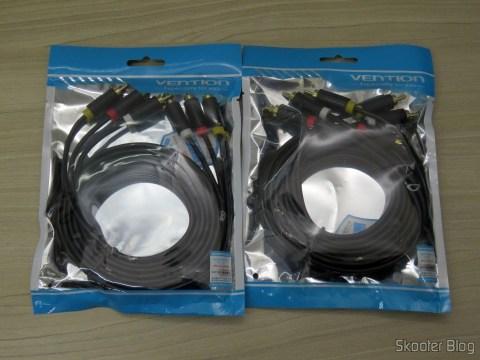 2 Cabos Vention 3 RCA para 3 RCA de 2 metros, em suas respectivas embalagens