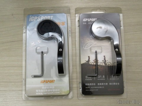 31, 8 mm holder for iGPSPORT iGS20/20Plus/60 and Garmin Edge 200 500 510 800 810, on its packaging, beside the support that came along with the Speedometer / Cycling computer iGPSPORT iGS20E