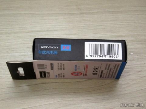 Carregador Veícular Vention 2.4A com 2 Portas USB, em sua embalagem