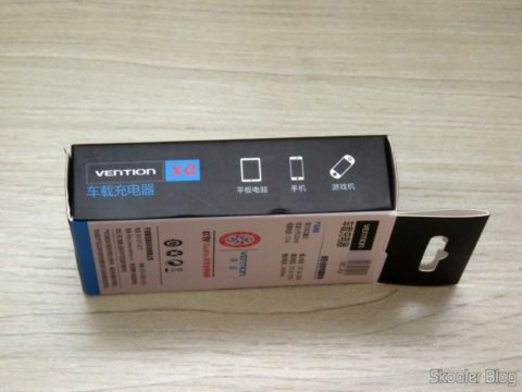 Vehicular Charger 2.4 Vention with 2 USB Portas, on its packaging