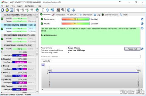 Hard Disk Sentinel, analisando o HD recém-instalado