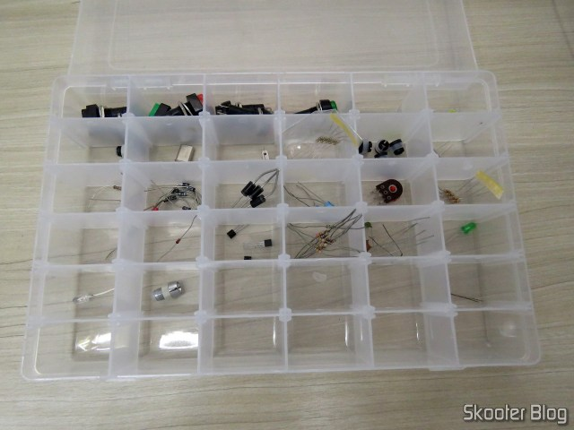 Plastic Organizer box 36 Magazines, with electronic components.