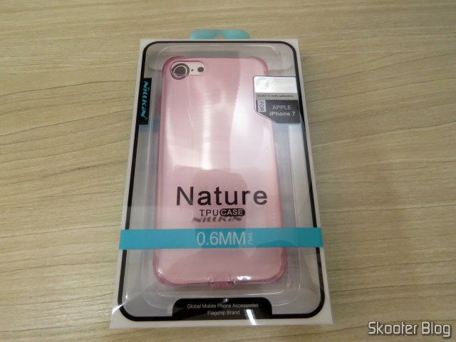Cover for iPhone 7 Nillkin Ultra Thin Translucent Pink, on its packaging.