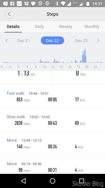 Amazfit Watch: informações sobre passos.