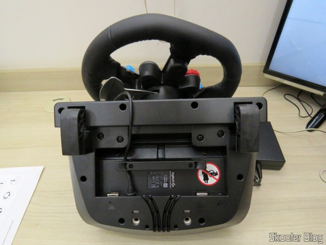 The lower part of the Driving Force Logitech racing wheel G29.