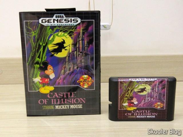 Cartucho de Mega Drive da AliExpress: Castle of Illusion starring Mickey Mouse, e sua caixinha.Cartucho de Mega Drive da AliExpress: Castle of Illusion starring Mickey Mouse, e sua caixinha.