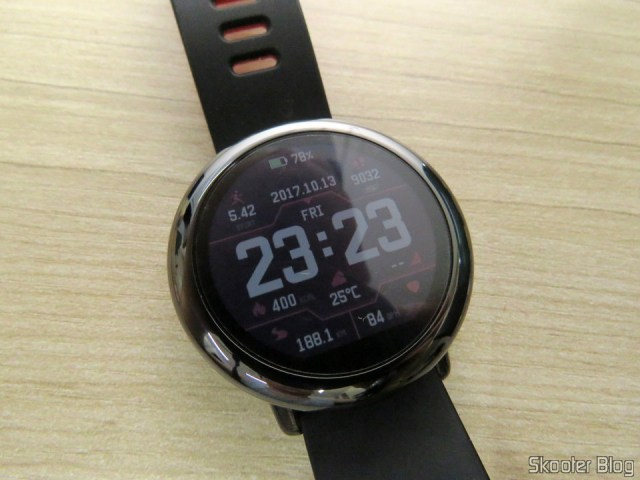 Amazfit Pace, with the applied film.