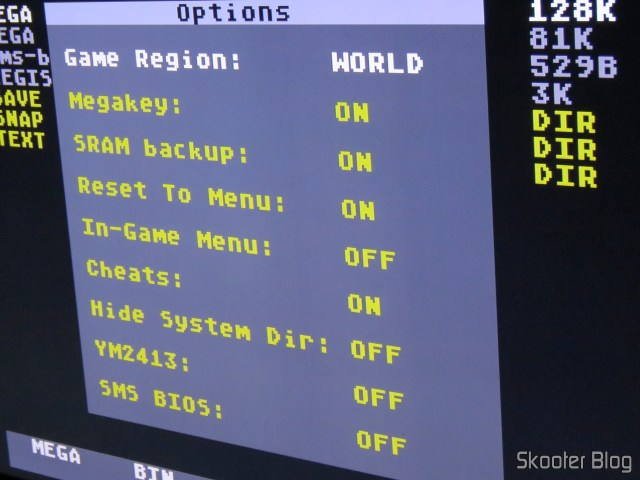 Options in Mega EverDrive X 7 - Deluxe Edition.