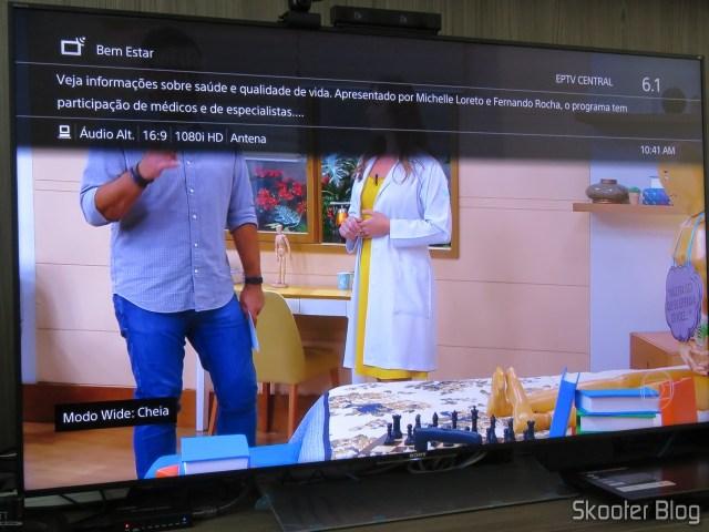 TV Digital Aberta na Sony XBR-55X905E 4K.