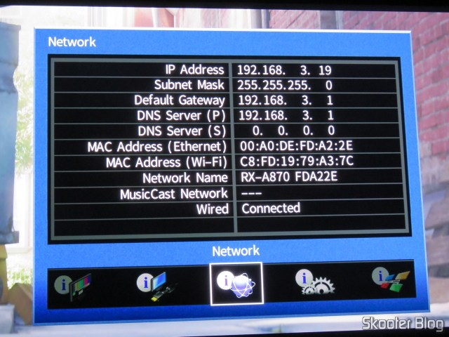 Network settings of the Receiver Yamaha Aventage RX-A870.