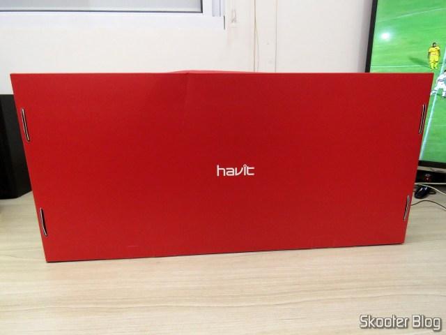 Teclado Mecânico Havit HV-KB370L RGB, em sua embalagem.