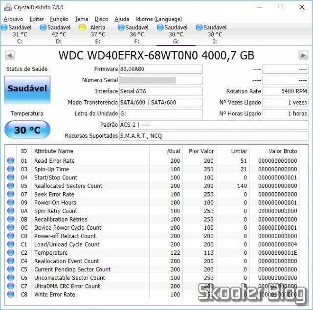 "HDD Western Digital 3.5"" Red, modelo WD40EFRX de 4TB no CrystalDiskInfo."