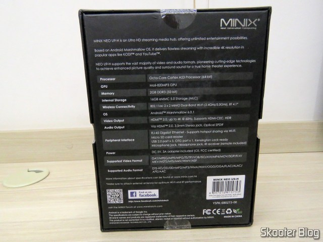 Traseira da caixa do Minix NEO U9-H.