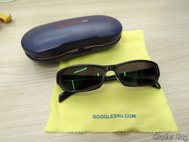 Sunglasses with Degree, Black Dark Lens (G4u T3022 Rectangle Eyeglasses 124765-c), and case of Goggles4U.
