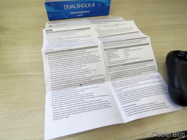 Folheto de Instruções do Controle PS4 Playstation 4 Dualshock 4 Original Sony Wireless.