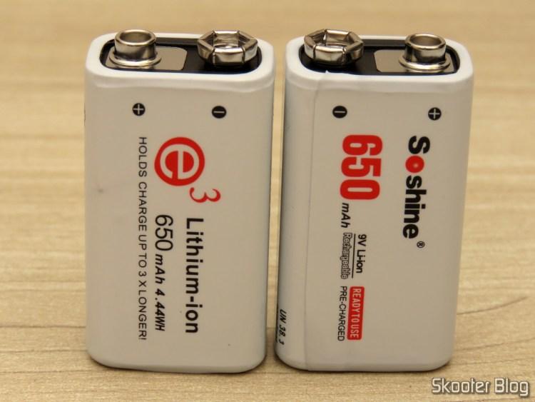 Baterias Recarregáveis 6F22 9V Li-Ion 650 mAh Soshine.