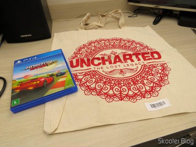 Horizon Chase Turbo - Playstation 4 (PS4) e sacola do Uncharted de brinde.