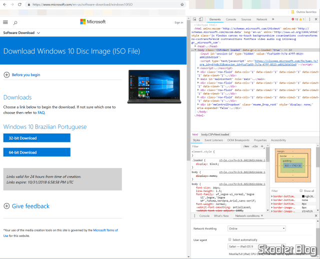 Download the official Windows ISOs 10 without the Media Creation Tool