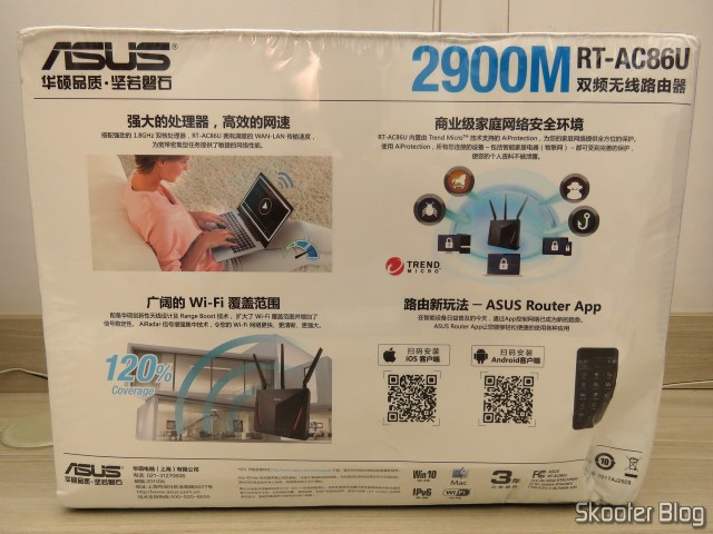 Roteador ASUS RT-AC86U, em sua embalagem.