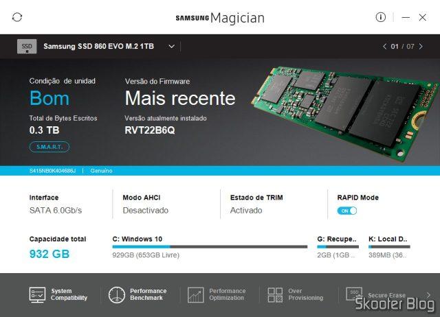 Samsung 860 EVO 1TB M.2 SATA Internal SSD (MZ-N6E1T0BW) no Samsung Magician.