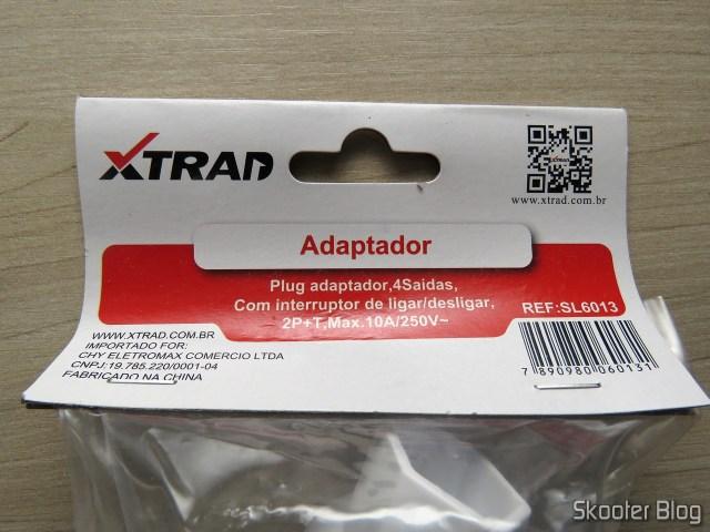 Socket adapter w/Switch / 4 Taken 2 p + T, on its packaging.