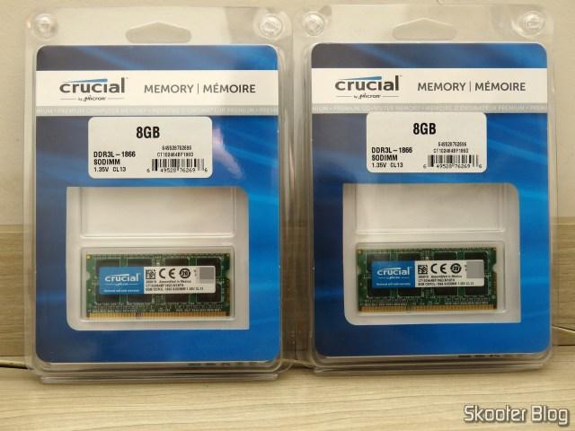 2 Módulos de Memória Crucial 8GB Single DDR3/DDR3L 1866 MT/s (PC3-14900) Unbuffered SODIMM 204-Pin Memory - CT102464BF186D.