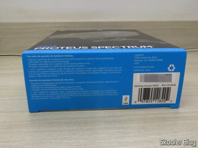 Mouse Gamer G502 Proteus Spectrum 12.000 DPI - Logitech G, em sua embalagem.