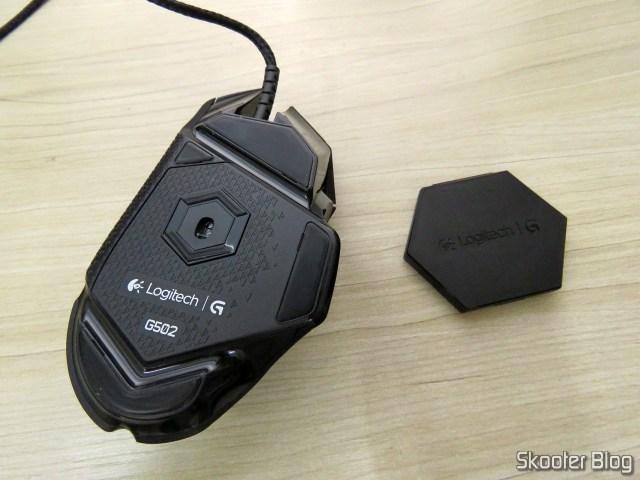 Mouse Gamer G502 Proteus Spectrum 12.000 DPI - Logitech G, e estojo de pesos.