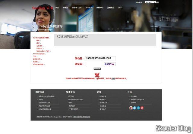 O Sandisk microSDHC Ultra UHS-1 32GB falsificado falhou no teste do código de verificação da Sandisk.