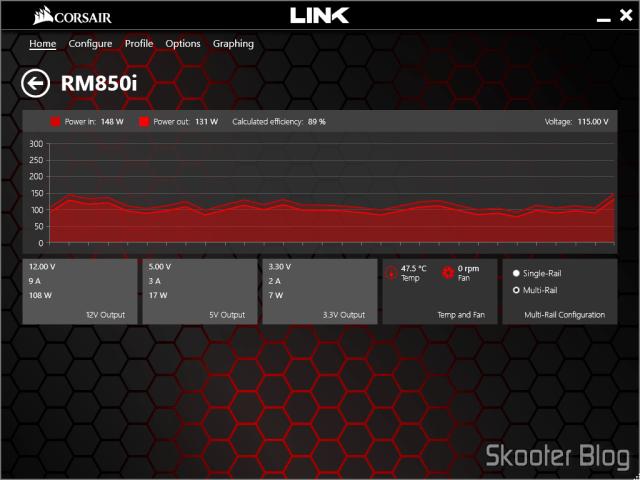 Gráfico e parâmetros da RM850i no Corsair Link.