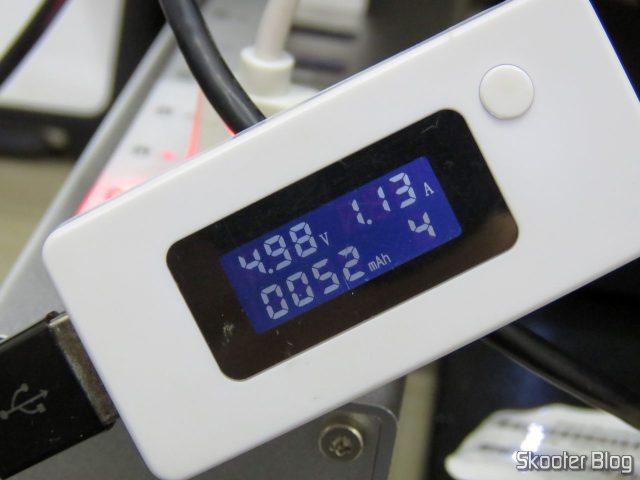 Teste de corrente no Hub USB 3.0 Orico A3H13P2.