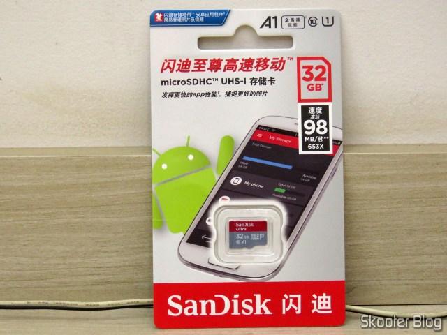 Sandisk microSDHC Ultra UHS-1 32GB - AliExpress (original), em sua embalagem.