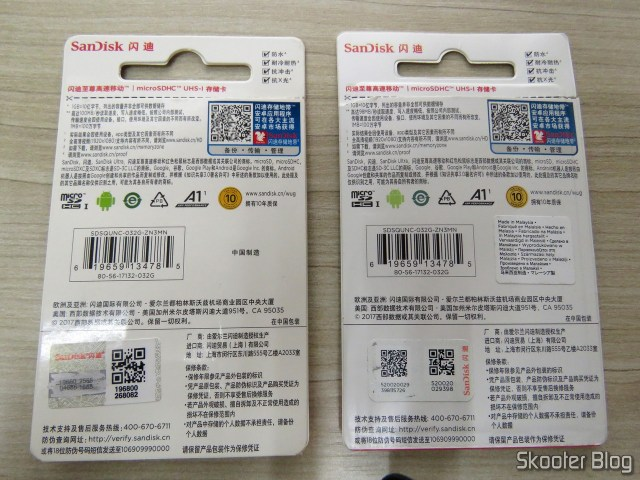 Packaging of Sandisk microSDHC Cards: faked left and right original.
