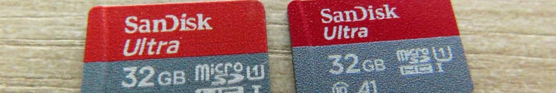 Cartões Sandisk microSDHC: falsificado à esquerda e original à direita.