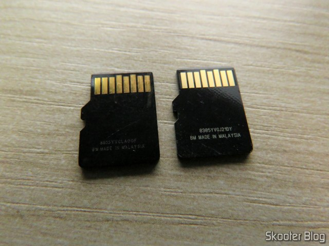 Sandisk microSDHC: faked left and right original.