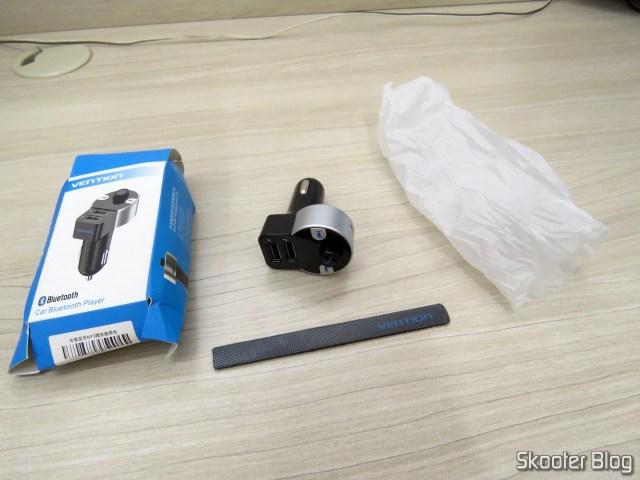 Vention Car Bluetooth Player Multifunção, sua embalagem e brinde.