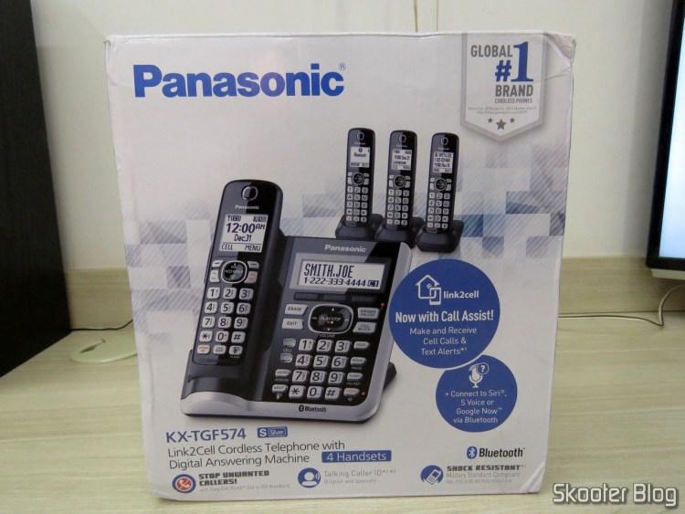 Wireless phone system Panasonic KX-TGF574S, on its packaging.