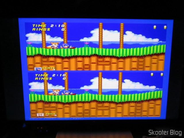 Mega Drive no modo 480i, conectado ao OSSC.