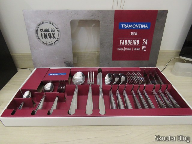 Cutlery Laguna Tramontina Stainless Steel 24 Parts, on its packaging.