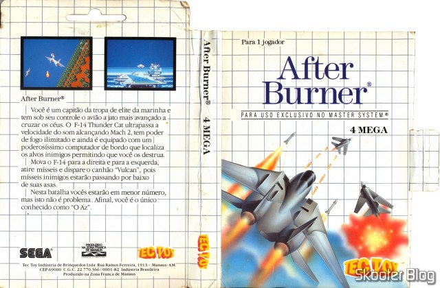 Capa da Tec Toy para o After Burner - Master System.