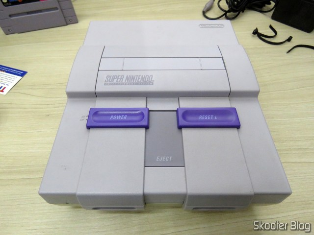 The Super Nintendo, ready for testing.