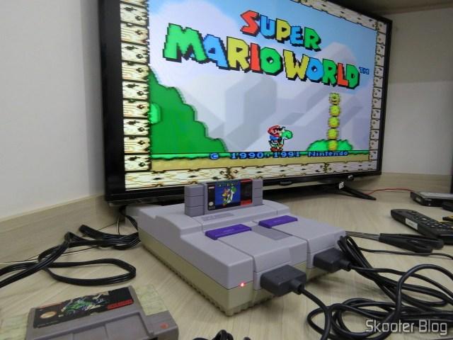 Super Nintendo Original NTSC PCB SHVC-CPU-01 CPU/PPU1/PPU2 1/1/1, em funcionamento.