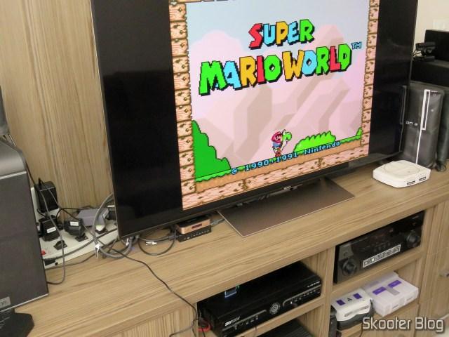 2º Super Nintendo Original NTSC PCB SHVC-CPU-01 CPU/PPU1/PPU2 2/1/3, na TV Sony 4K através do Framemeister.