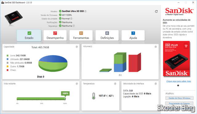 Test with SSD Sandisk SSD Dashboard.