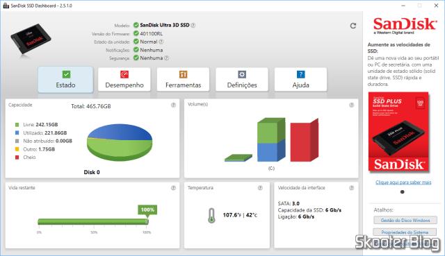 Teste do SSD com o Sandisk SSD Dashboard.