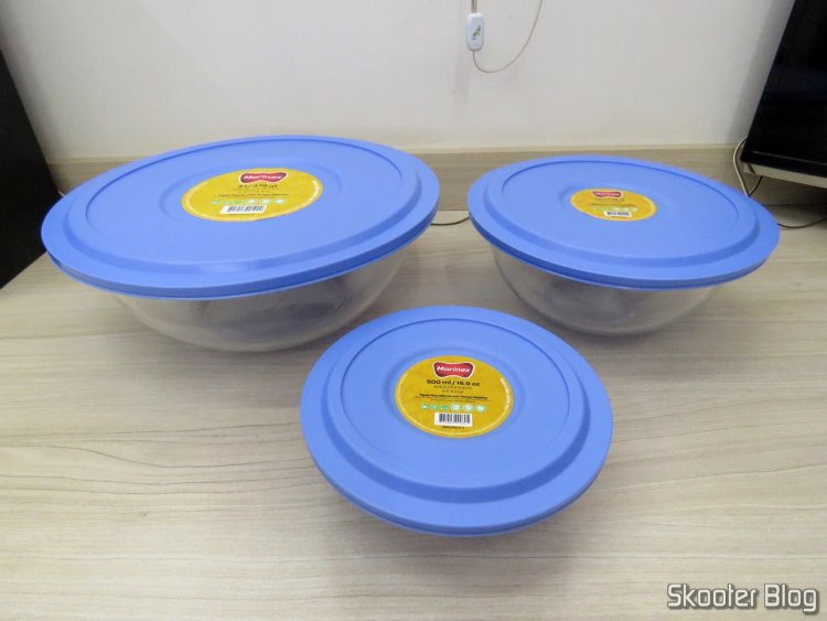Set bowls Marinex Plus in glass with blue cover - 3 Parts.