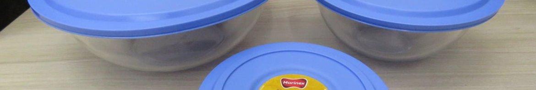 Conjunto de Tigelas Marinex Plus em Vidro com Tampa Azul – 3 Peças.